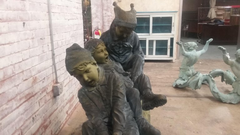 Bronze Sled with 3 Boys In Good Condition For Sale In Stamford, CT