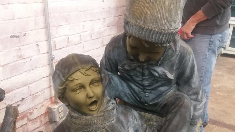 20th Century Bronze Sled with 3 Boys For Sale