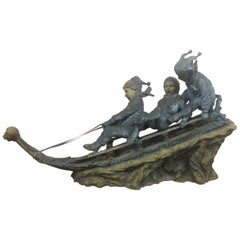 Bronze Sled with 3 Boys
