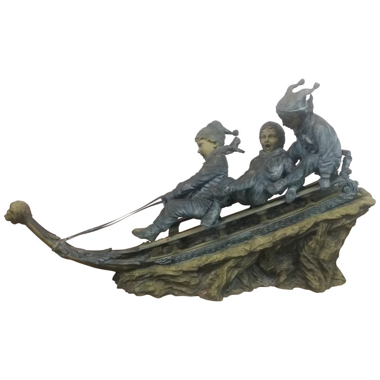 Bronze Sled with 3 Boys For Sale