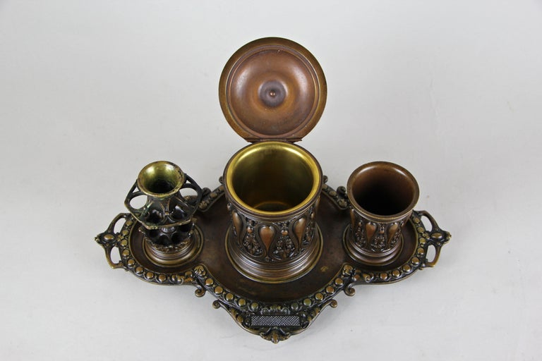 19th Century Bronze Smoking Set Marked, Germany, circa 1880 For Sale