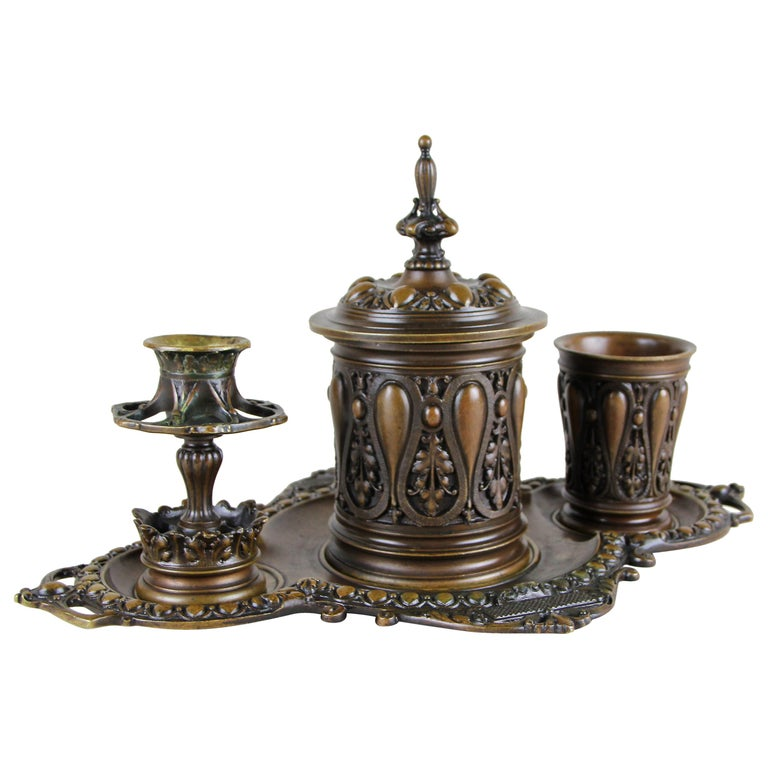 Bronze Smoking Set Marked, Germany, circa 1880 For Sale