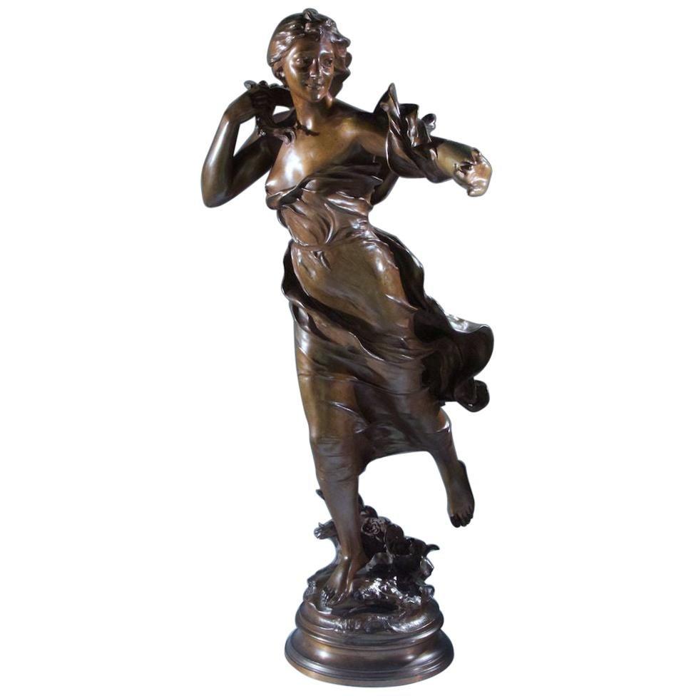 Bronze Statue by Felix Charpentier Entitled Brise