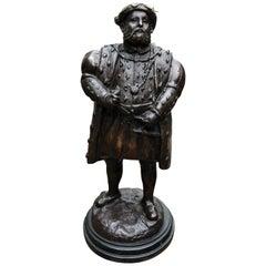 Bronze Statue Henry VIII - English King British Monarch Tudors, 20th Century
