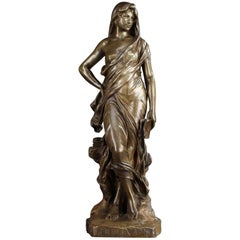 Bronze Statue Meditation by Eugène Marioton