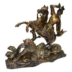 Bronze Statue of a Crusader on Horseback in Mortal Combat with an Ottoman Turk