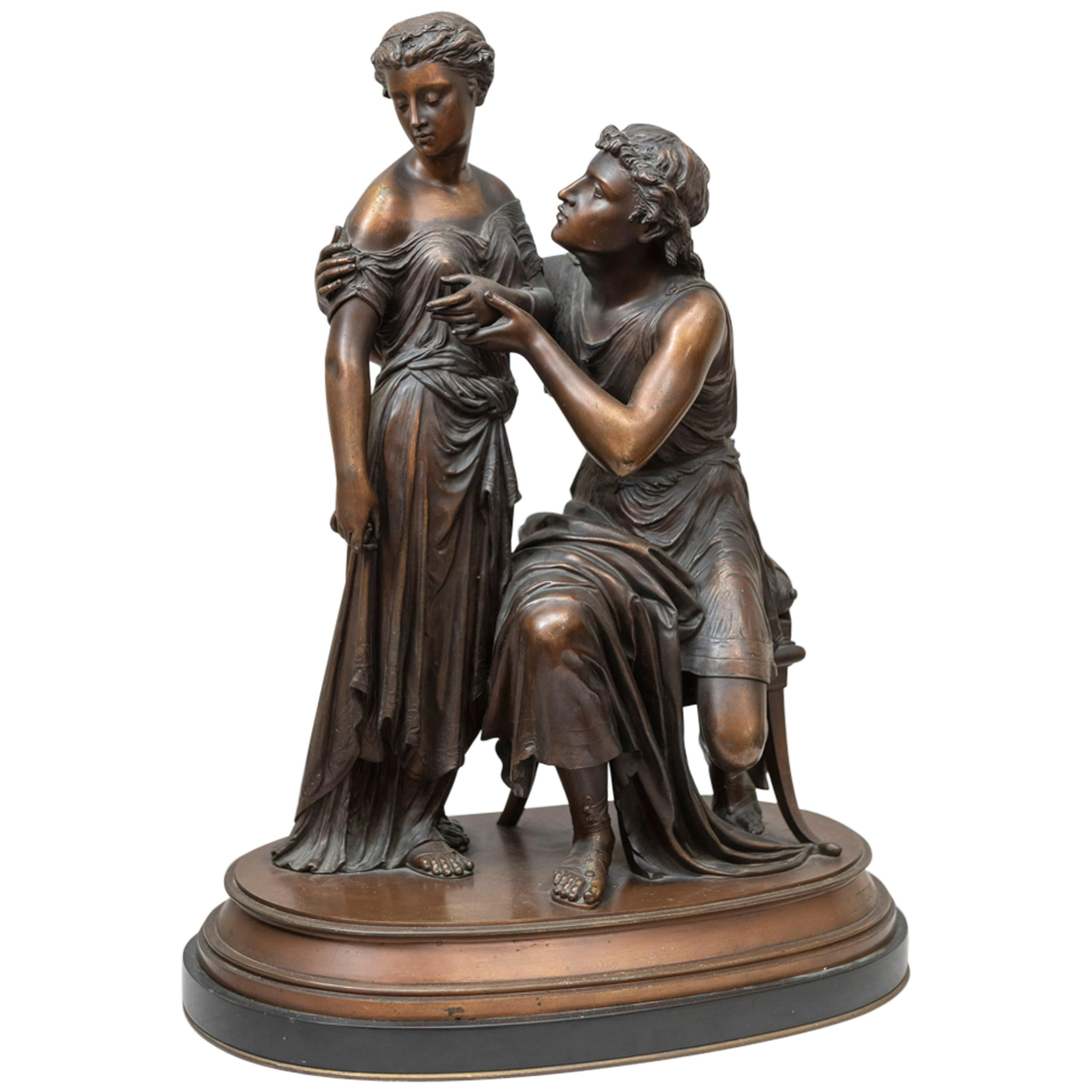 Bronze Statue of a Pleading Man, and a Shy Maiden, French, Gregoire, 1870s