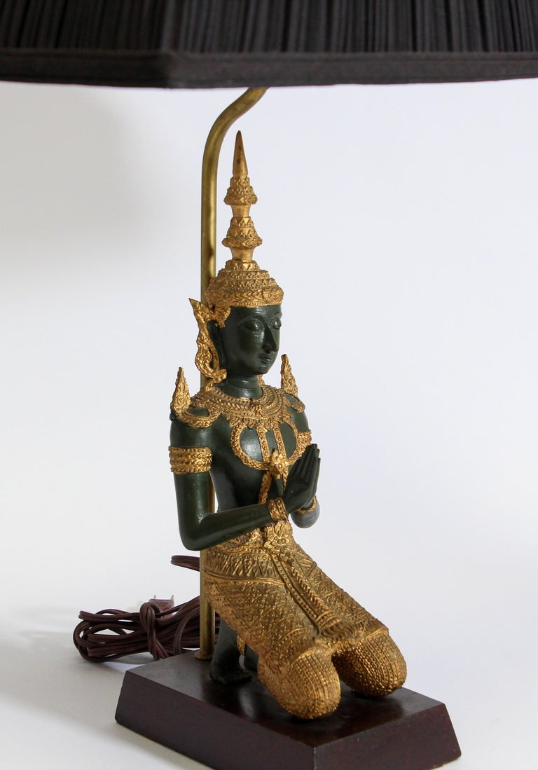 Bronze Statue of a Thai Teppanom Kneeling Angel Buddha Table Lamp For Sale 5