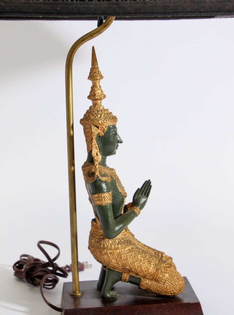 Bronze Statue of a Thai Teppanom Kneeling Angel Buddha Table Lamp For Sale 6