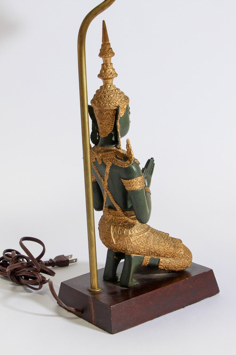 Bronze Statue of a Thai Teppanom Kneeling Angel Buddha Table Lamp For Sale 8