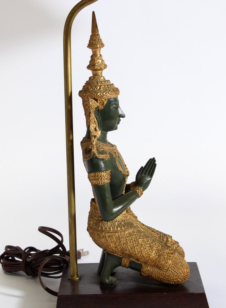 Bronze Statue of a Thai Teppanom Kneeling Angel Buddha Table Lamp For Sale 10