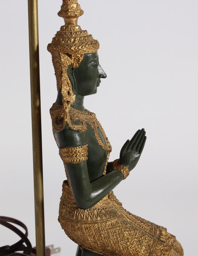 Bronze Statue of a Thai Teppanom Kneeling Angel Buddha Table Lamp For Sale 12