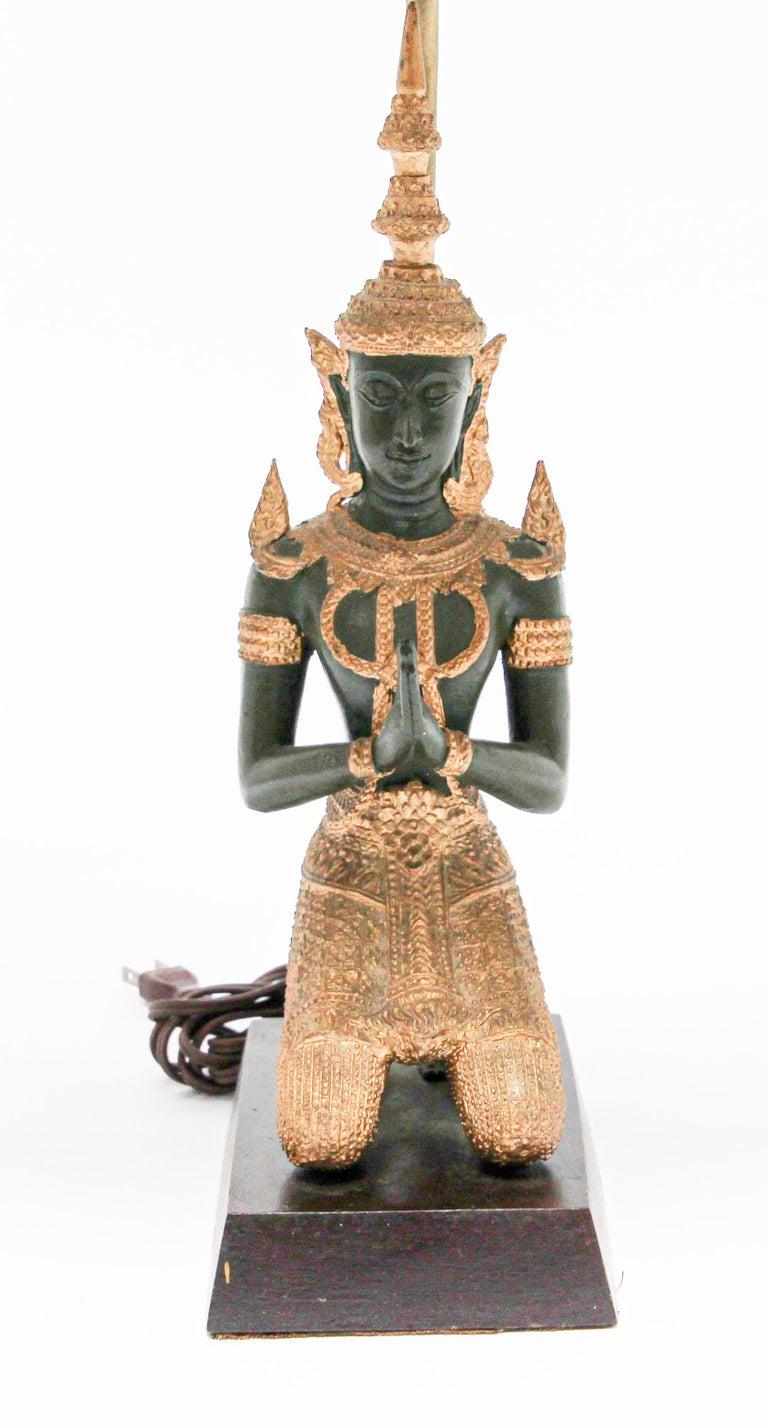 19th Century Bronze Statue of a Thai Teppanom Kneeling Angel Buddha Table Lamp For Sale