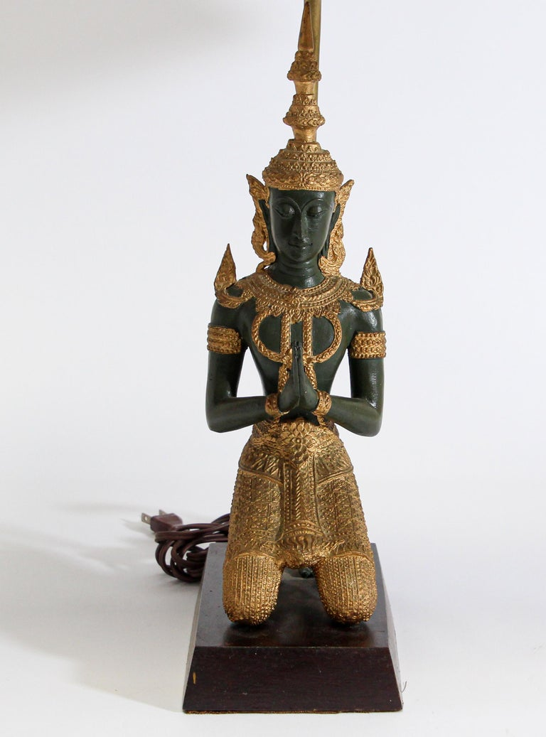 Bronze Statue of a Thai Teppanom Kneeling Angel Buddha Table Lamp For Sale 1