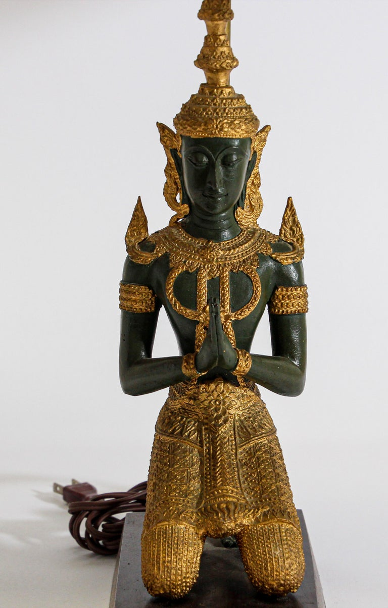 Bronze Statue of a Thai Teppanom Kneeling Angel Buddha Table Lamp For Sale 2