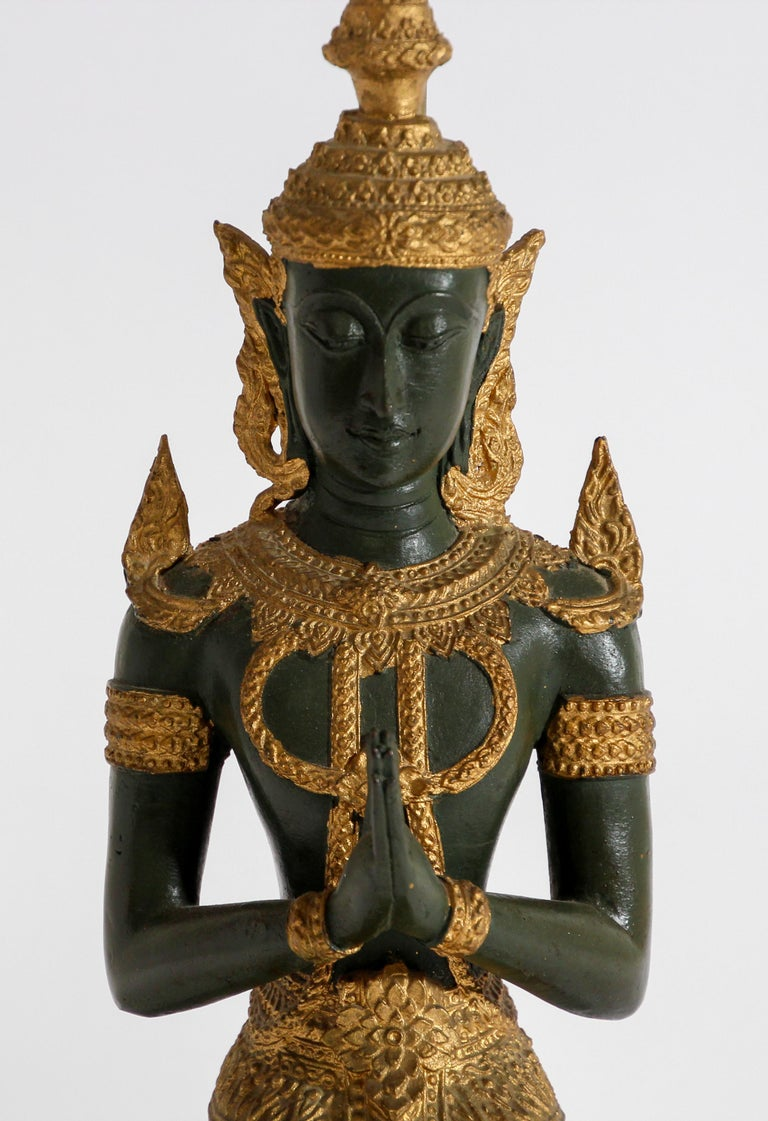 Bronze Statue of a Thai Teppanom Kneeling Angel Buddha Table Lamp For Sale 3