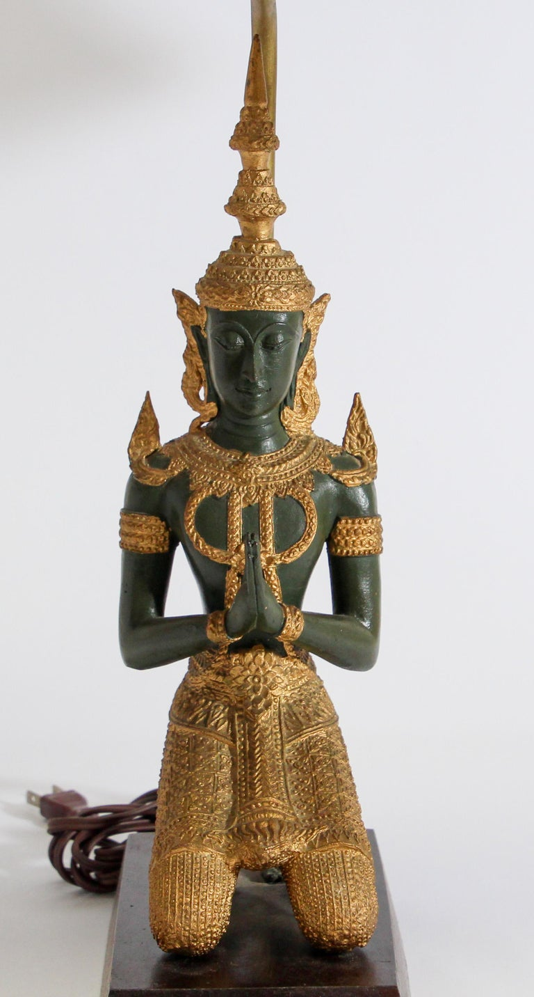 Bronze Statue of a Thai Teppanom Kneeling Angel Buddha Table Lamp For Sale 4