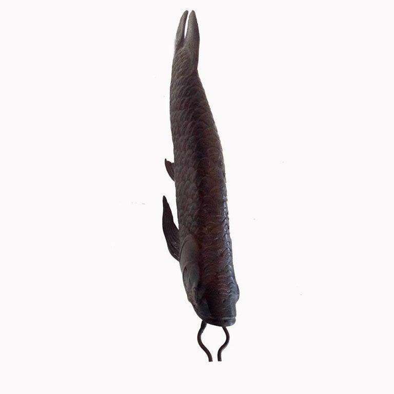 Indonesian Bronze Statue of an Arowana 'Dragon' Fish For Sale