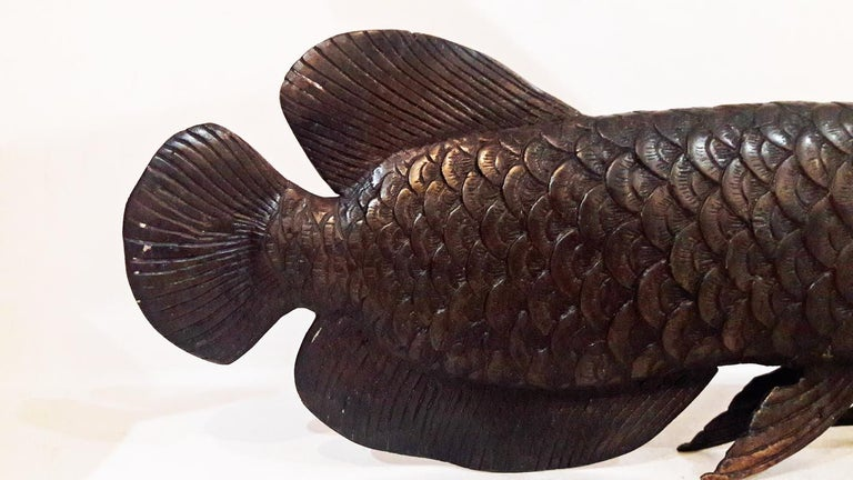 Bronze Statue of an Arowana 'Dragon' Fish In Excellent Condition For Sale In New York, NY