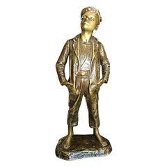 Bronze Brass Figural Statue of boy by Karl Hackstock 19th Century Vienna 1800s