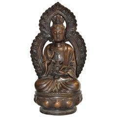 Bronze Statue of Buddha Guan Yin Holding Ruyi