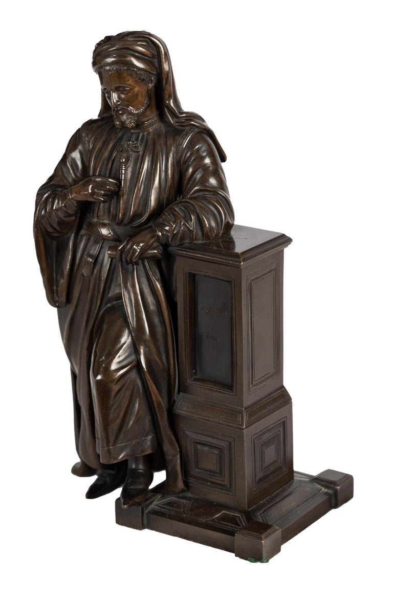 Here Chaucer, the famous English poet, is portrayed in his traditional robes and head covering, holding a copy of his seminal work Canterbury Tales while resting against a column also inscribed with the title of the book. American, late 19th
