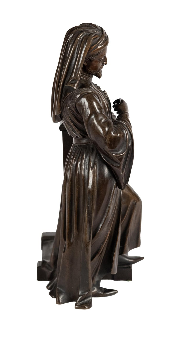 19th Century Bronze Statue of Geoffrey Chaucer For Sale