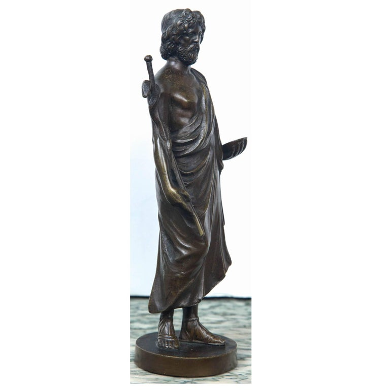 Classical Greek Bronze Statue of Hippocrates For Sale