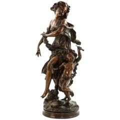 Bronze Statue einer Frau mit Kind