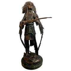 Bronze Statue Sculpture of American Indian Chief Signed Carl Kauba