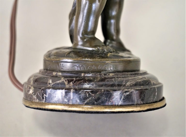 19th Century Bronze Statue Signed Auguste Moreau Table Lamp For Sale