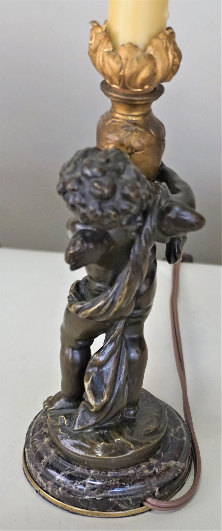 Bronze Statue Signed Auguste Moreau Table Lamp For Sale 1