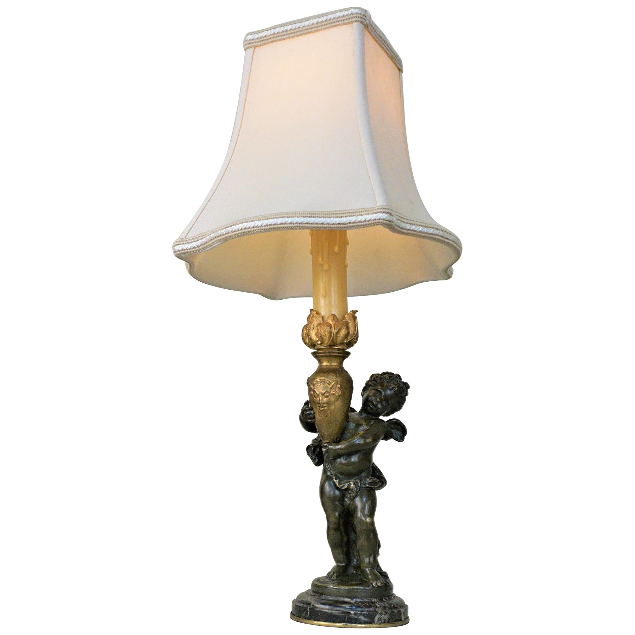 Bronze Statue Signed Auguste Moreau Table Lamp