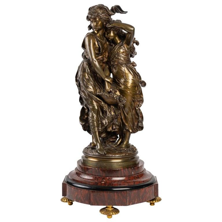 Bronze Statue Signed MOREAU, 19th Century For Sale