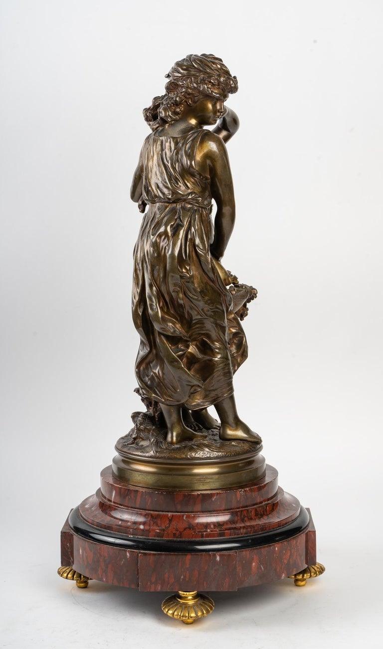 Napoleon III Bronze Statue Signed MOREAU, 19th Century For Sale