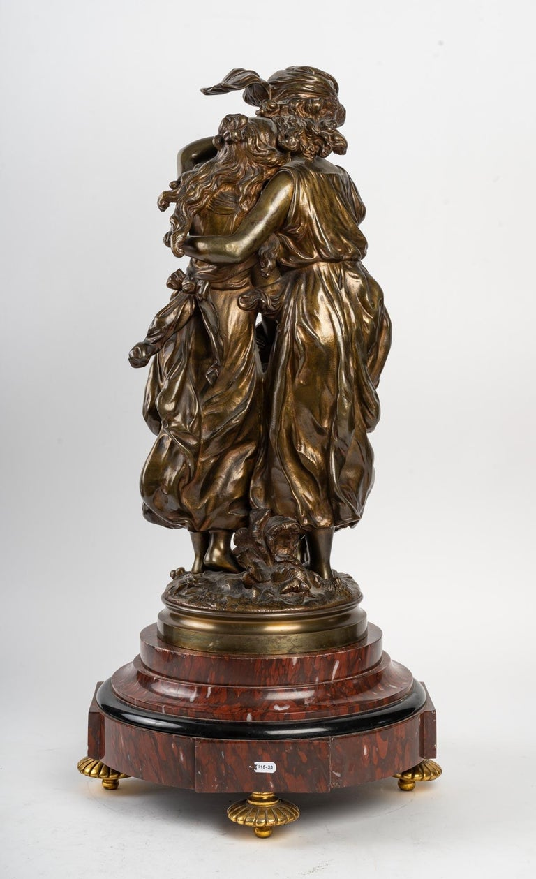 European Bronze Statue Signed MOREAU, 19th Century For Sale