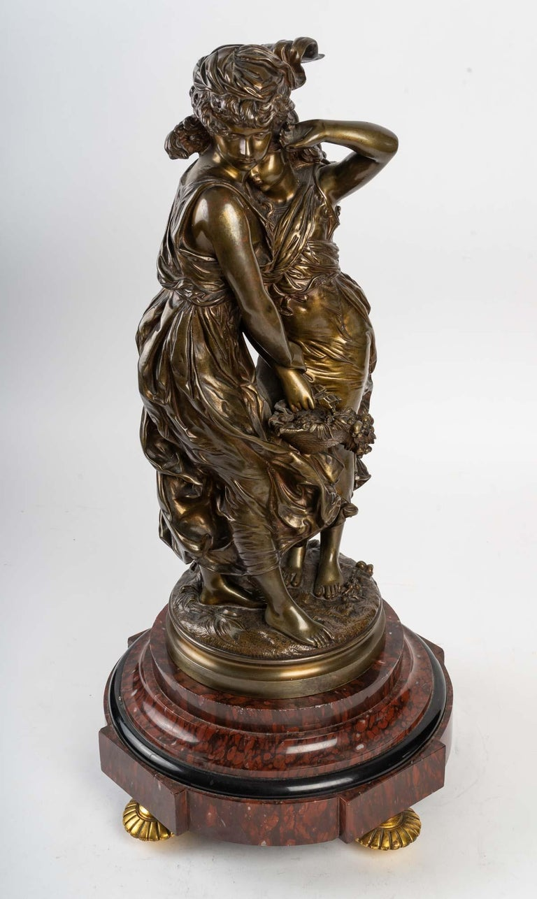 Late 19th Century Bronze Statue Signed MOREAU, 19th Century For Sale