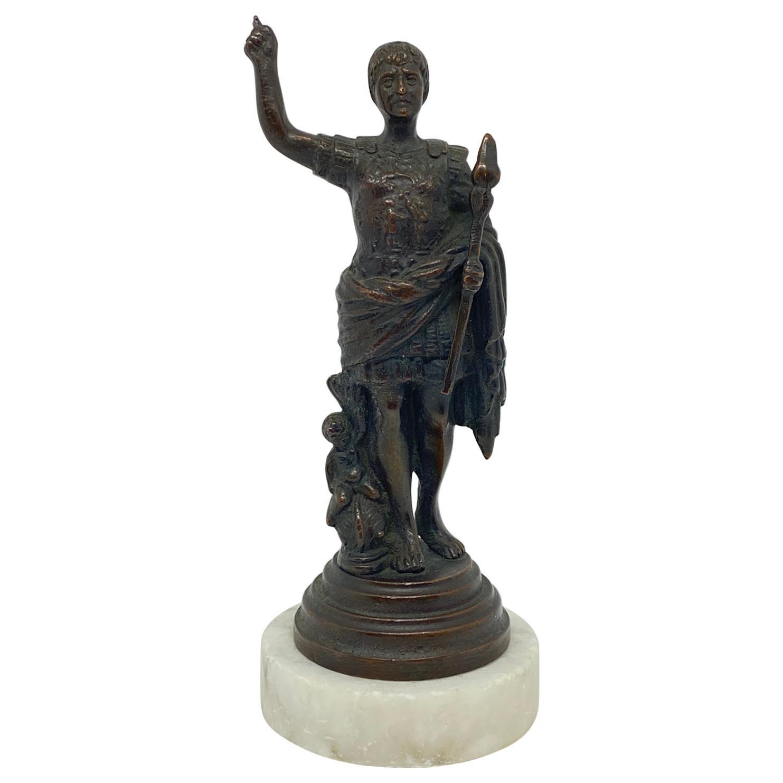 Italian Grand Tour Bronze Statuette of Caesar Augustus, 19th Century