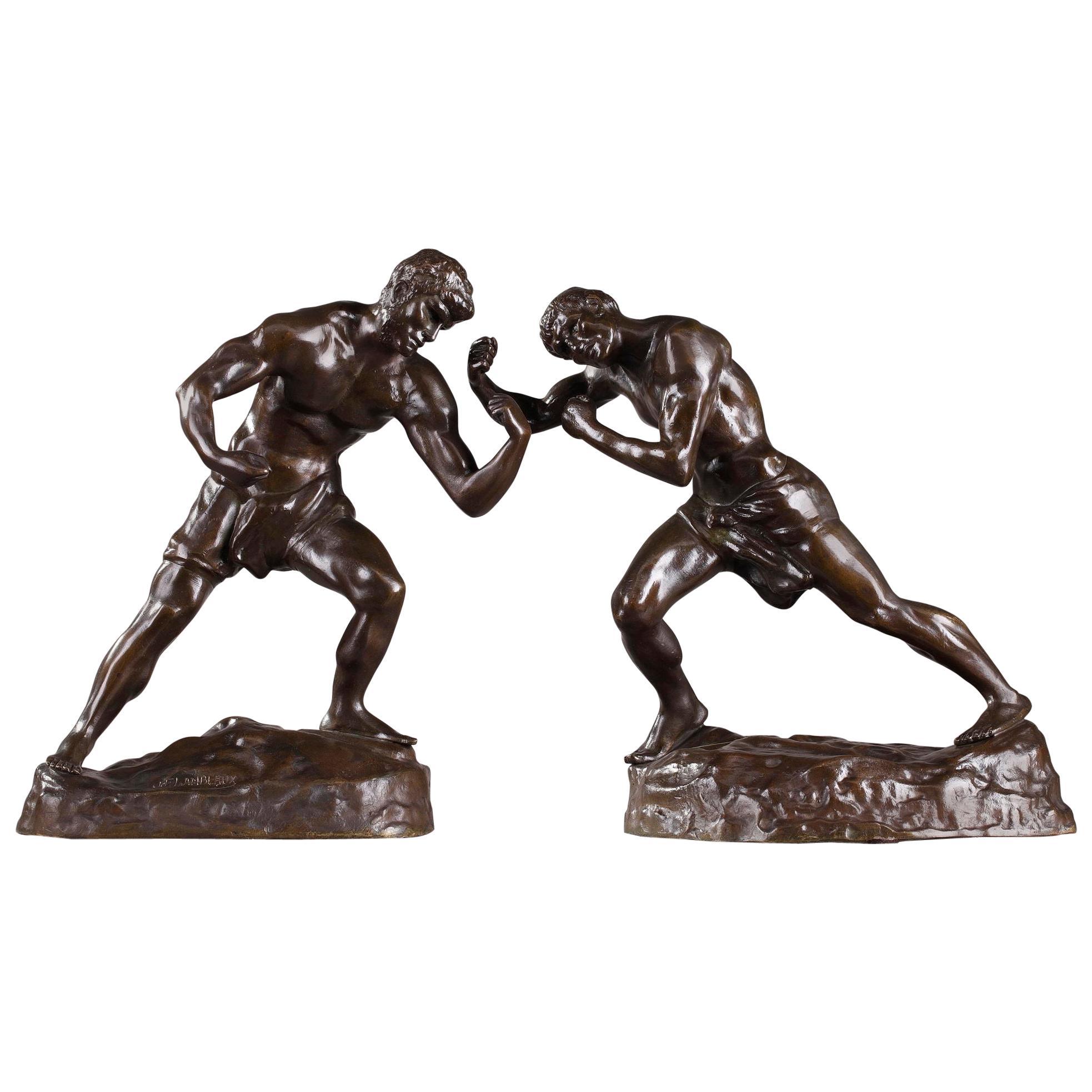 Bronze Statuettes Two Boxers by Jef Lambeaux