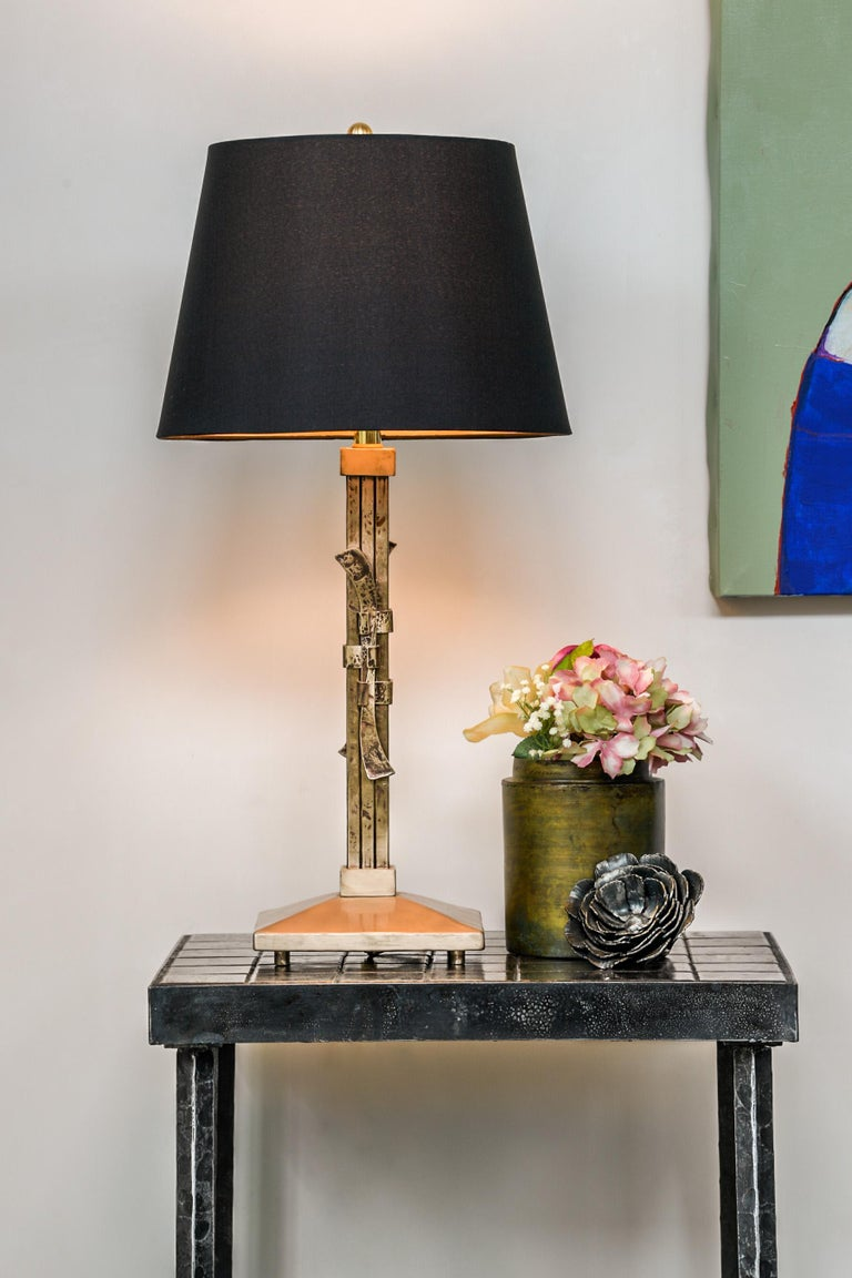 Bronze Table Lamp Made Using Traditional Japanese Joinery Im Angebot