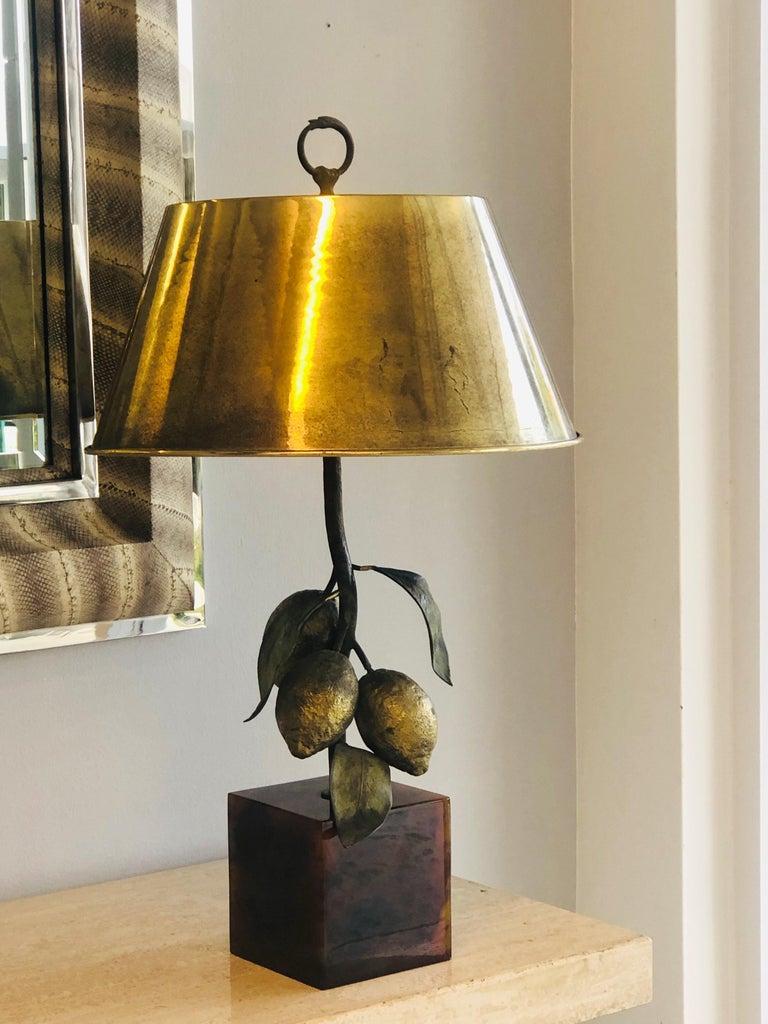 Italian Bronze Table Lamp with Lemons, 1980s