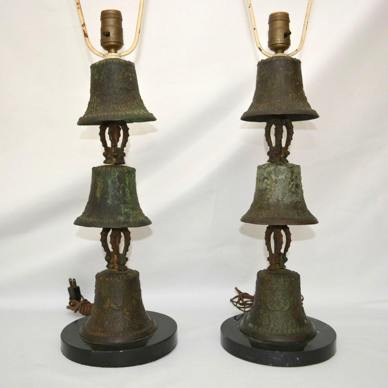 Patinated Bronze Table Lamps For Sale