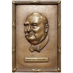 Bronze Table or Desk Plaque with Young Winston Churchill Sculpture in Reliëf