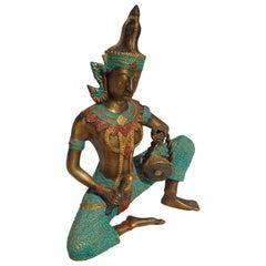 Bronze Thai Sculpture of Musician Playing Drum