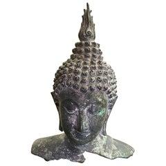 Bronze Thai Siam Temple Shrine Buddha Head
