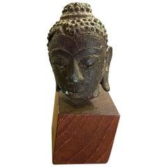 Bronze Thai Siam Temple Shrine Kamphaeng Phet Style Buddha Head on Wood Stand