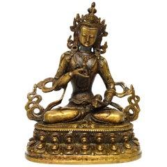 Bronze Tibetan White Tara Holding Dorje and Bell, Mottled Gold Finish