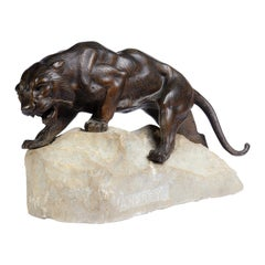 Bronze Tiger on a Rock by James Andrey, France, circa 1920