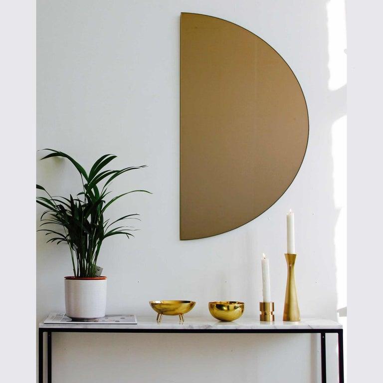 Organic Modern Modern Bronze Tinted Mirror Orbis Half Circular Small Wall Mirror Frameless For Sale