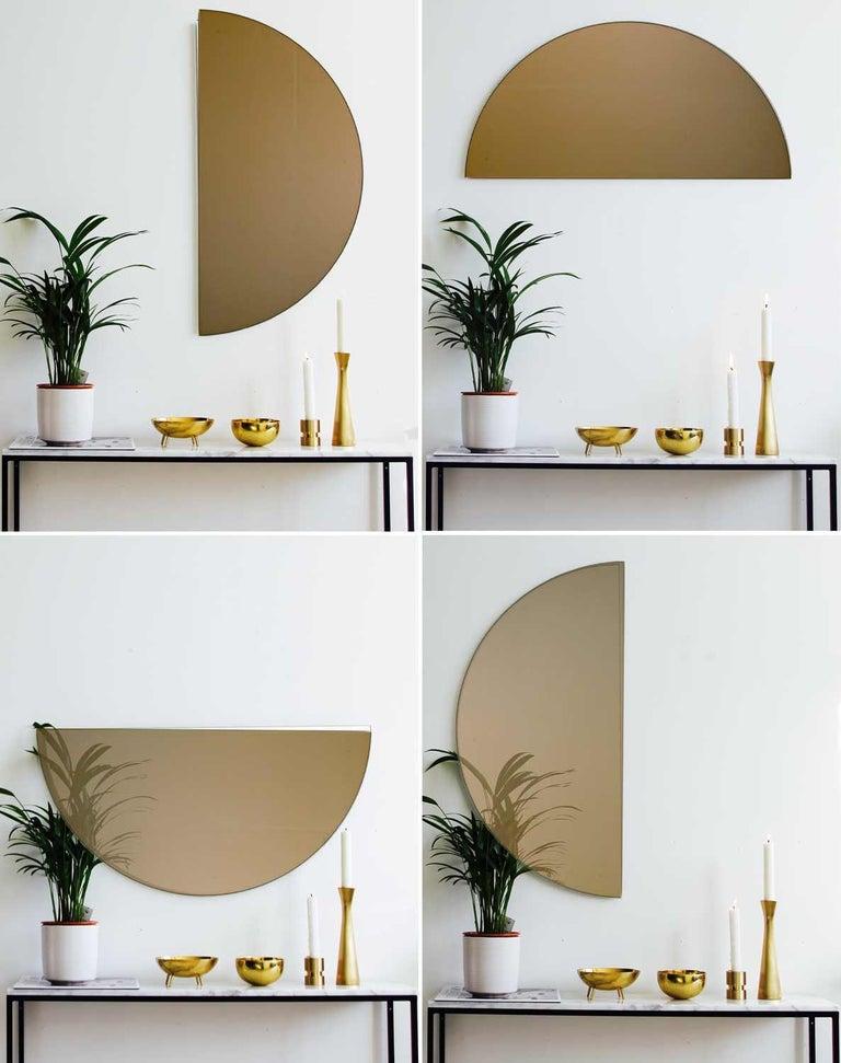 British Modern Bronze Tinted Mirror Orbis Half Circular Small Wall Mirror Frameless For Sale